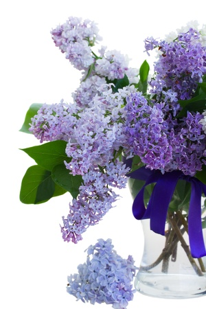 Mixed Lilac in vase isolated on white background photo