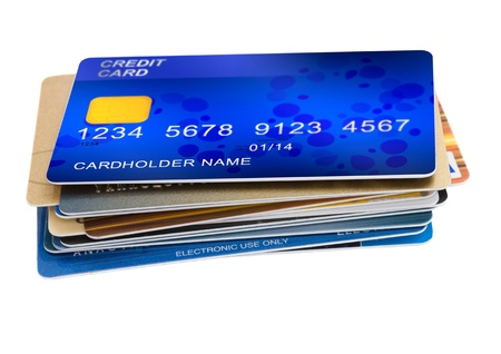 debit card: stack of credit cards isolated on white background Stock Photo