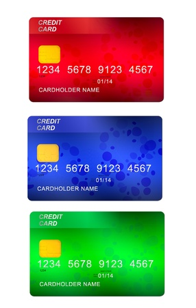 set of three credit cards   isolated on white background photo