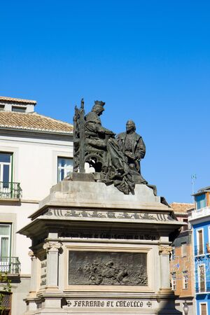 mariano: Isabela I with Christopher Columbus, monument was made by Mariano Benlliure in 1892, Granada Spain