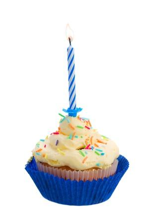 birthday cupcakes: birthday cake with burning one candle isolated on white background