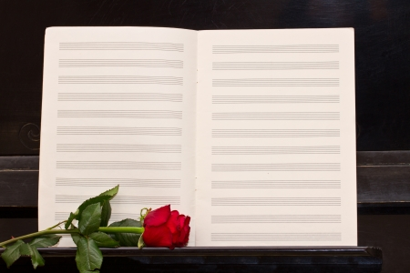 open empty notes paper with one  red rose  piano photo
