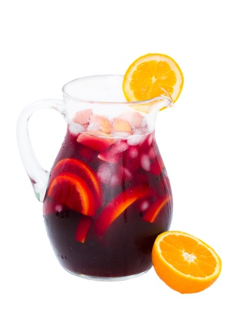 jar   of cold sangria wine isolated on white background
