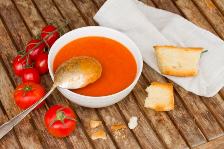 Gazpacho with tomatoes - spanish cold   soup photo