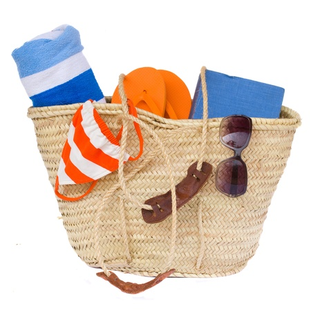beach towel: sunbathing accessories isolated on white background