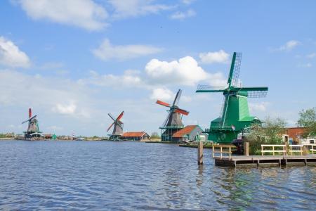 zaan: view of dutch windmills in Zaanse Schans, Holland