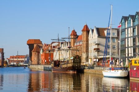 Old town waterfront over Motlawa, Gdansk ,  Poland photo