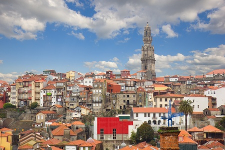 skyline with red tiled roofs of old town, Porto, Portugal photo