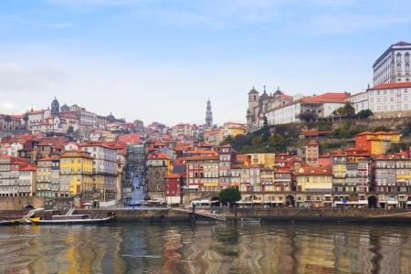 oporto: Douro river embankment and  old Oporto, Portugal