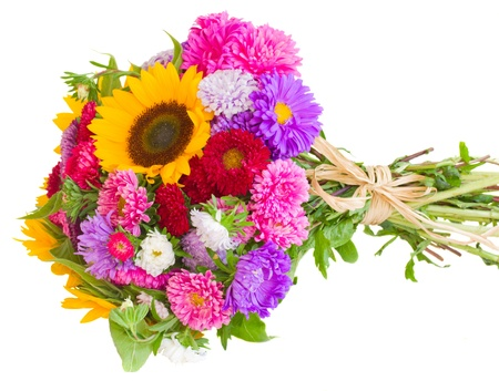bouquet of sunflowers and asters  isolated on white background photo