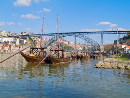 rabelo: traditional port wine boats and bridge of Dom Luis I, Portugal