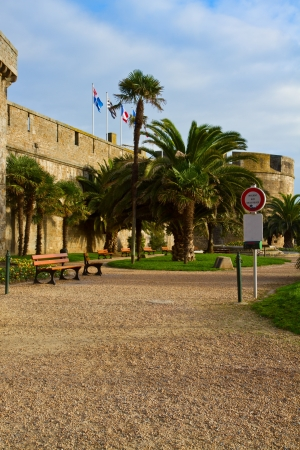 Park by defensive walls of the city of St  Malo, France photo