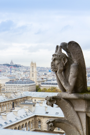 Gargoyle on Notre Dame Cathedral roof and city of  Paris, France photo
