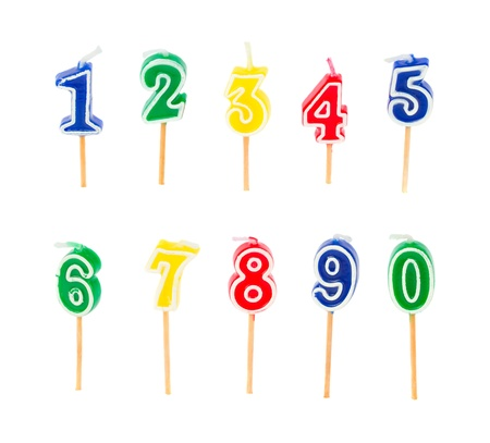 birthday multicolored candles numbers isolated on white background photo