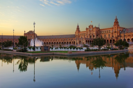 Square of Spain at night, Sevilla, Spain photo