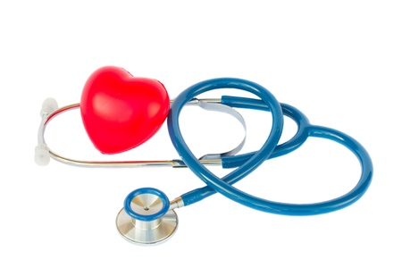 Health care concept - blue stethoscope with heart isolated on white background photo