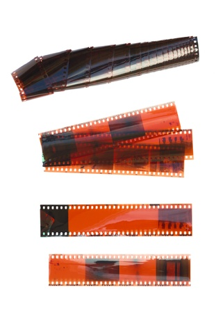 negatives: set of old films isolated on white background Stock Photo