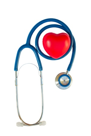Health care concept - blue stethoscope with red heart isolated on white background photo