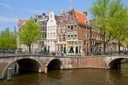 bridges  and houses of canal ring, Amsterdam, Netherlands photo