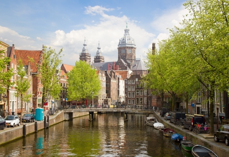 amsterdam canal: Church of St Nicholas, old town canal, Amsterdam, Holland