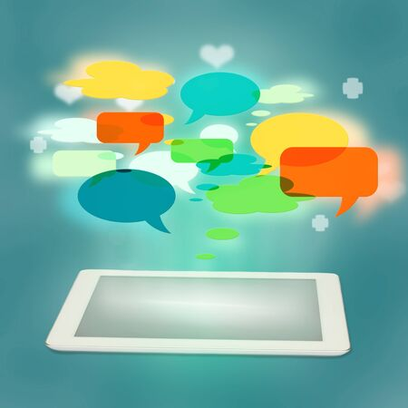 social media concept with white tablet ans speech bubbles photo