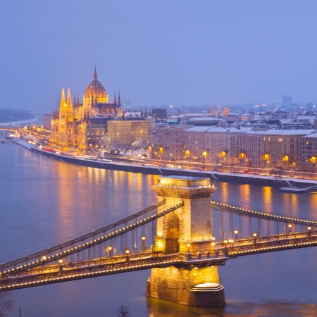 cityscape of Budapest at night with parliament building and chain bridge,  Hungary photo