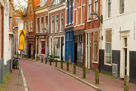 empty  street in old town of Haarlem, Holland photo