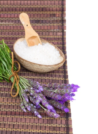 Fresh lavender spa  set - fresh flowers and aromatic salt on a table photo