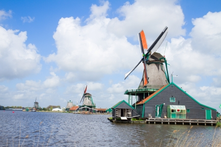 zaan: dutch windmills over Zaan river, Netherland