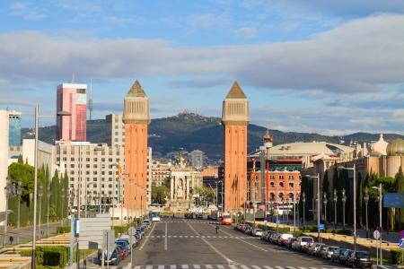 espanya: square of Spain with venetian towers, Barcelona, Spain Stock Photo
