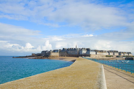 st malo: cityscape of  old town Intramuros of  Saint Malo, Brittany, France Stock Photo