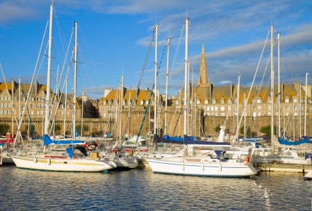 st malo: harbour in old town of  of  Saint Malo, Brittany, France