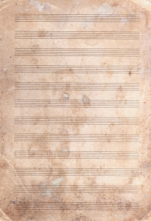 classical music: background of textured old stained  note paper