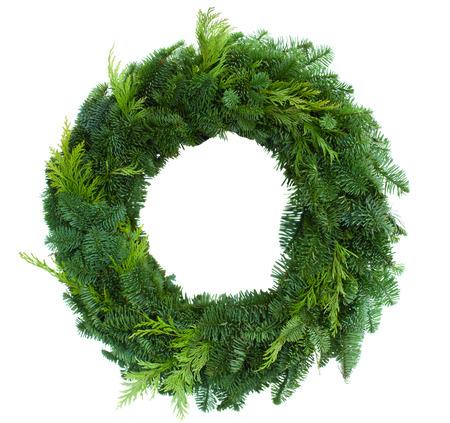 groene de kroon van Kerstmis geïsoleerd op witte achtergrond Stockfoto