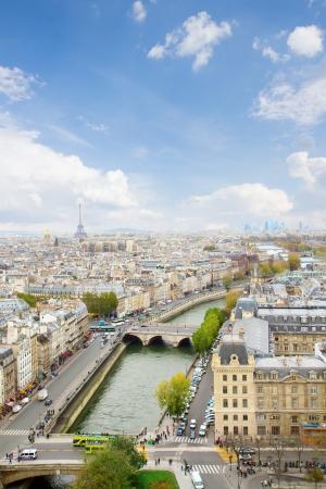 skyline of Paris city at sunny day , France photo