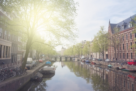 embankment  of canal ring, Amsterdam, Holland photo