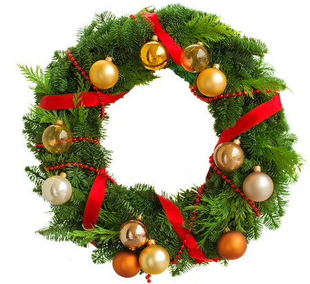 pine wreath: green christmas wreath with decorations isolated on white background