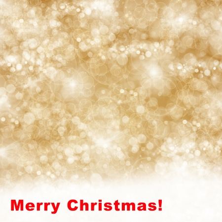 merry christmas golden background with bright  sparkles and lights photo