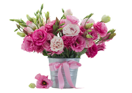 flower arrangements: Pink eustomas in flower  pot  isolated on white