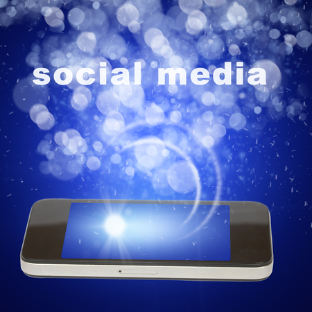 social media concept with white smart phone photo