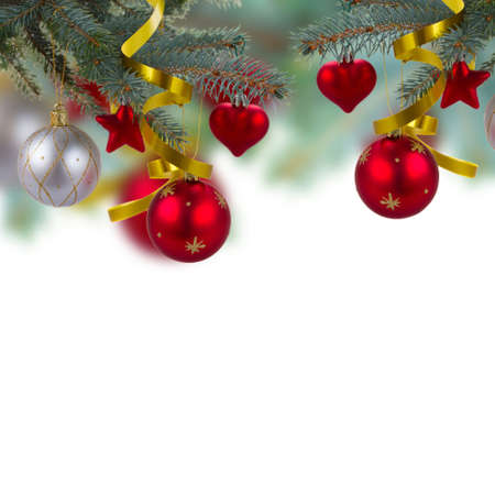 christmas red decorations hanging on fir tree isolated on white background Stock Photo - 23121475