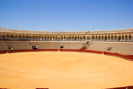 plaza de toros: bullring  arena, plaza de toros in Seville, Andalusia,  Spain Editorial