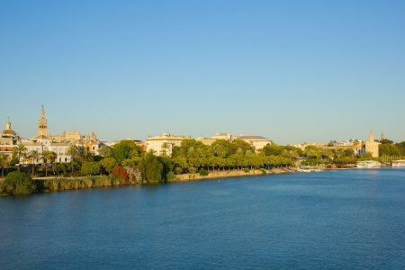 cityscape of Sevilla on river Guadalquivir, Spain, Andalusia photo