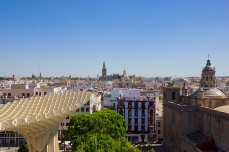 eggtray: cityscape of Seville from above, Andalusia,  Spain