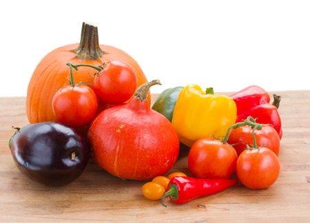 fall ripe of colorful vegetables  isolated on white background photo