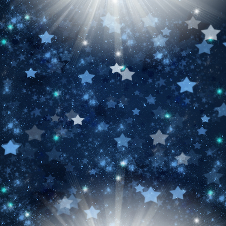stary: blue christmas  stars   background with two light spots Stock Photo