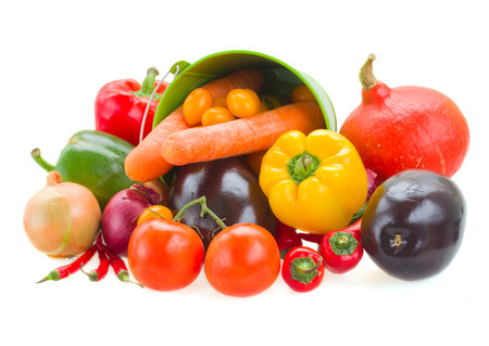 pile  of colorful vegetables   - tomatoes, onion, peppers, pumpkin and eggplant photo