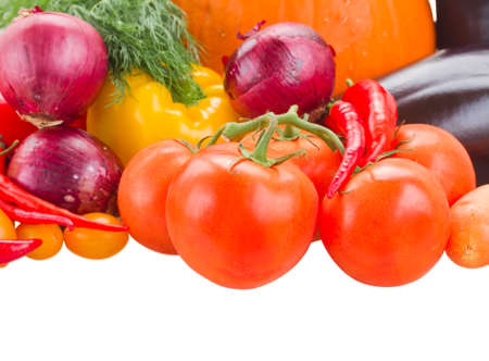 ripe of colorful vegetables   - pumpkin, tomatoes, onion and eggplant photo