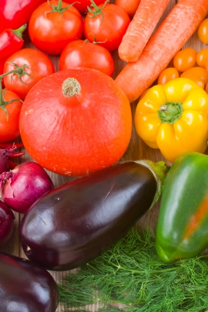 colorful vegetables   - pumpkin, tomatoes, onion and eggplant photo