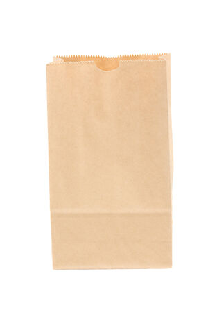 open paper bag isolated on white background photo